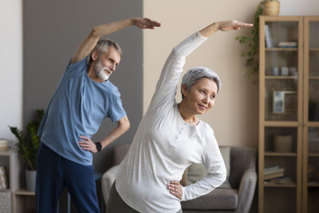 senior couple training together